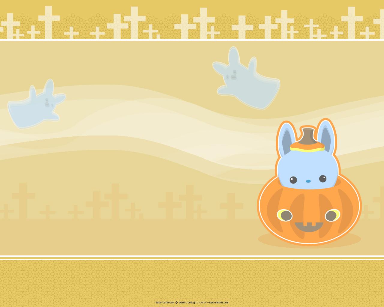 Very kawaii meomi halloween wallpaper